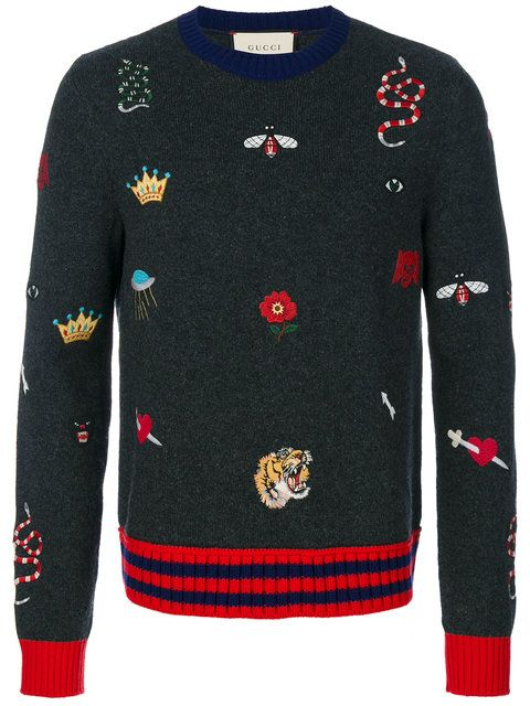 Shop Gucci embroidered knitted jumper. Gucci Jumper f00dabcccd8