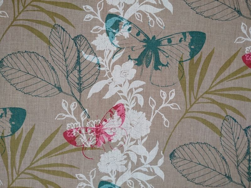 Designer Curtain Upholstery Fabric French Linen Tropical Butterfly