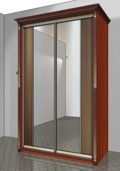 шкаф купе с пилястрами и карнизом двери купе с зеркальными