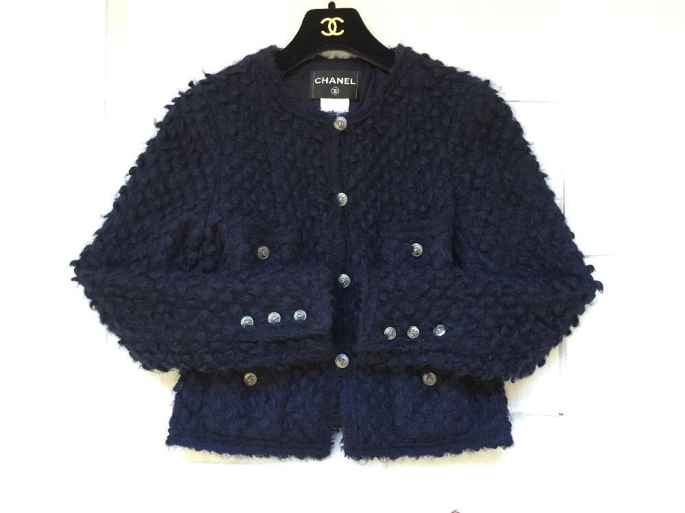 Authentic Chanel 08A Navy Mohair Cardigan Jacket Size 40 (6-8 US) US $1,199.00  Cozy classic cardigan jacket with four front pockets  Pre-owned in Clothing, Shoes & Accessories, Women's Clothing, Coats & Jackets eBay from whuynh97email