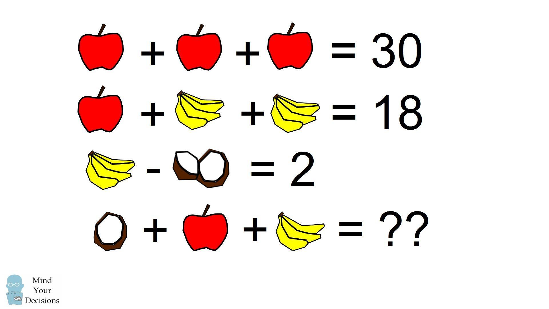 прекрасно задачка в картинках на логику с бананом и часами итог