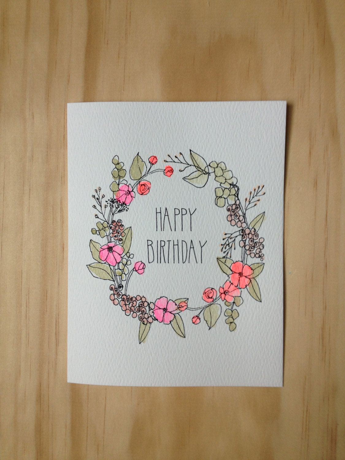 Floral Wreath Birthday Card With Images Birthday Card Drawing
