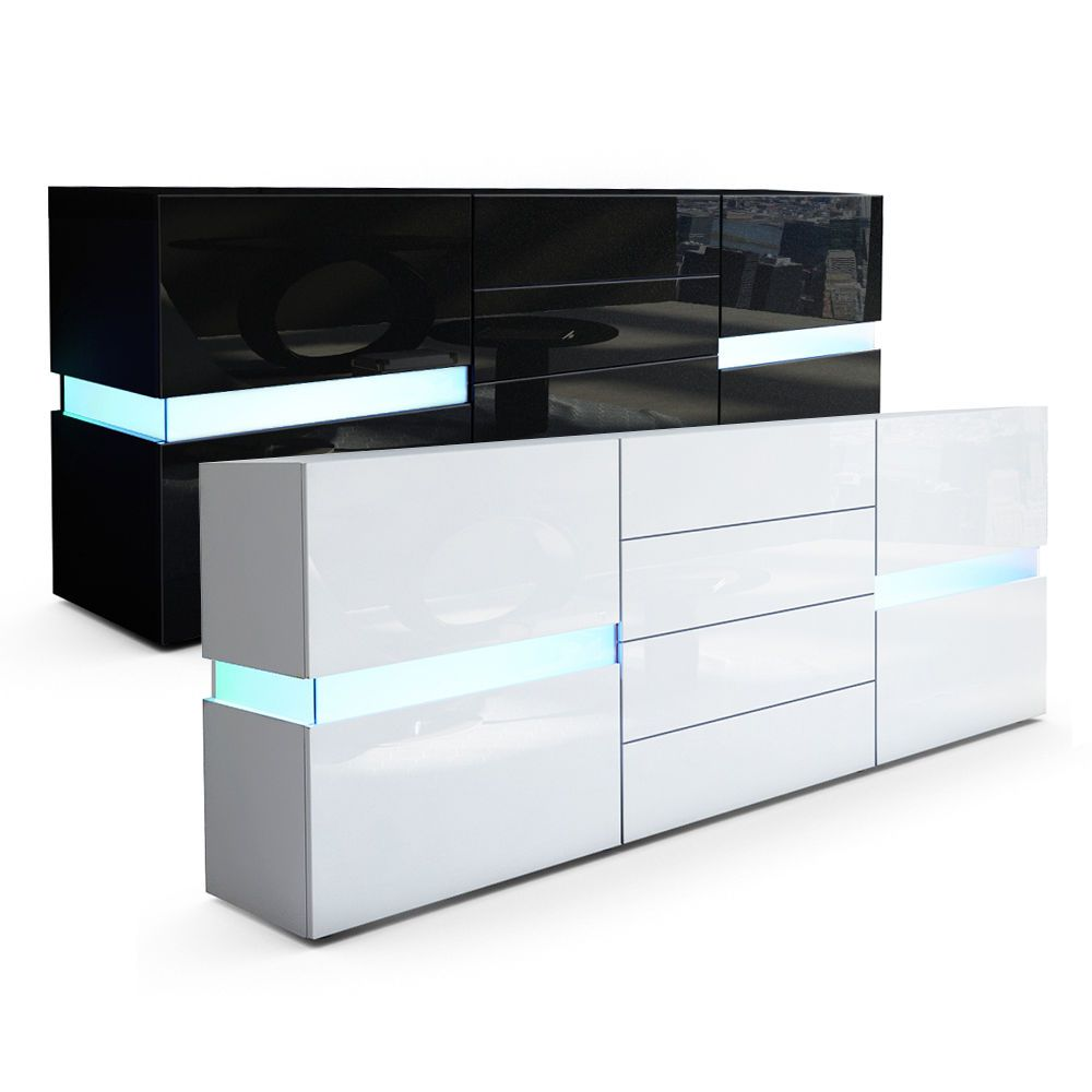 Sideboard Cabinet Chest Of Drawers Cupboard Flow In Black Or White High Gloss
