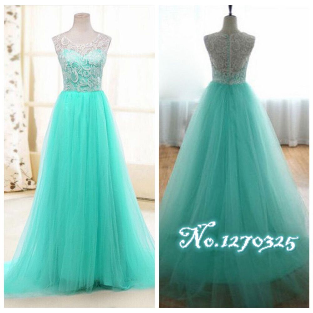 Click to buy ucuc vestido madrinha new lace a line turquoise
