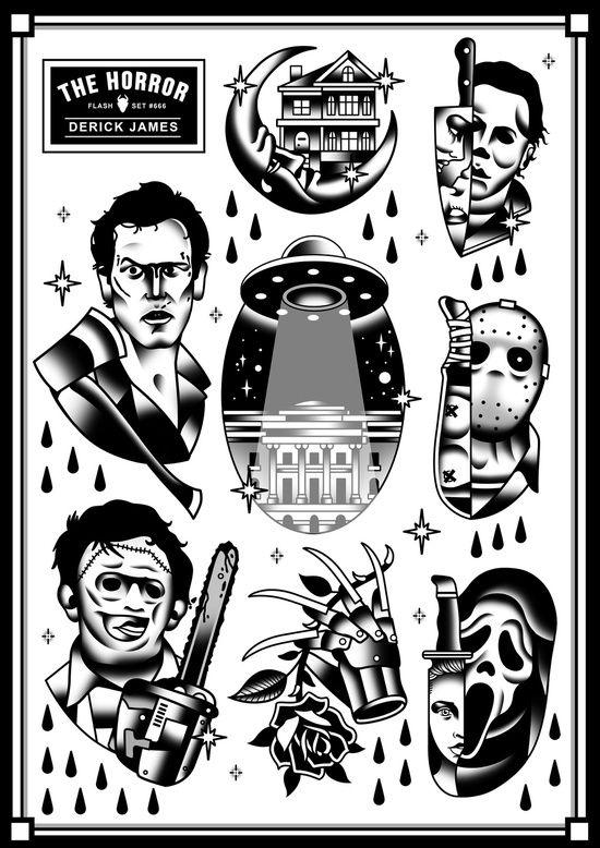 Classic Horror Tattoo Set Art Print By Derickjames Society6 Movie Tattoos Horror Tattoo Horror Movie Tattoos