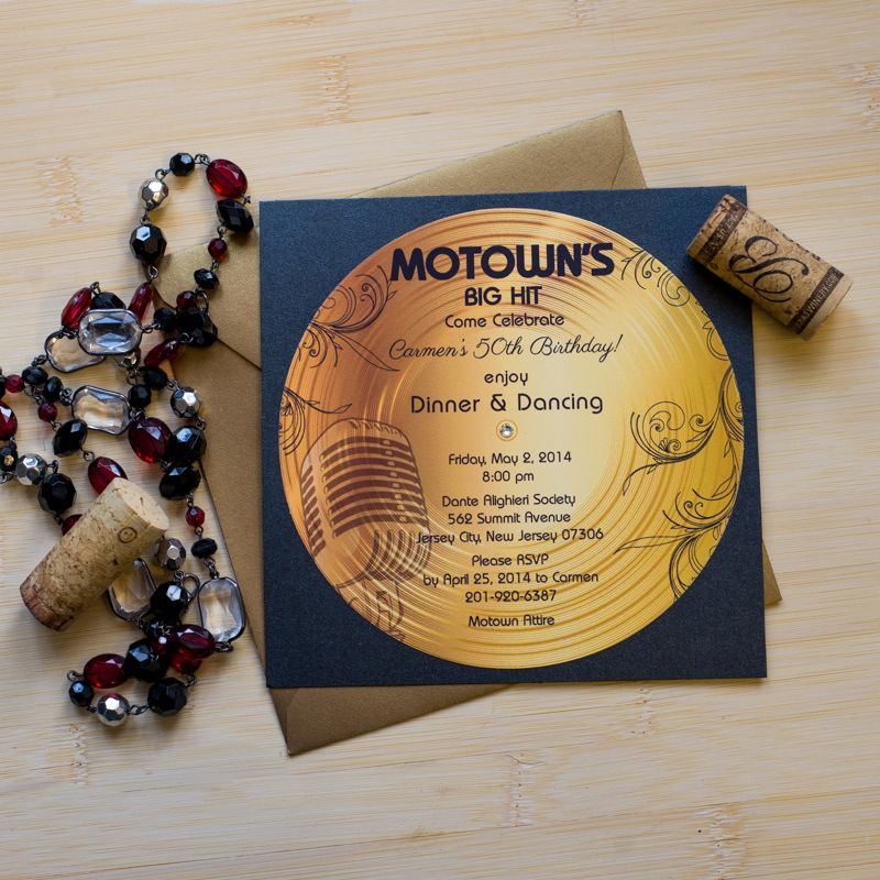Gold Record Motown Retirement Invitation