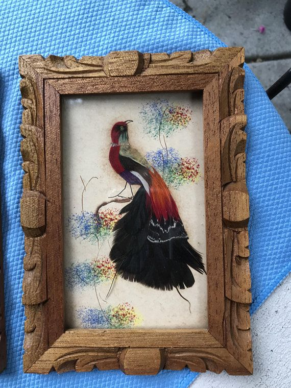 Reverse Painting On Glass With Feather Birds Made In Mexico Tropical