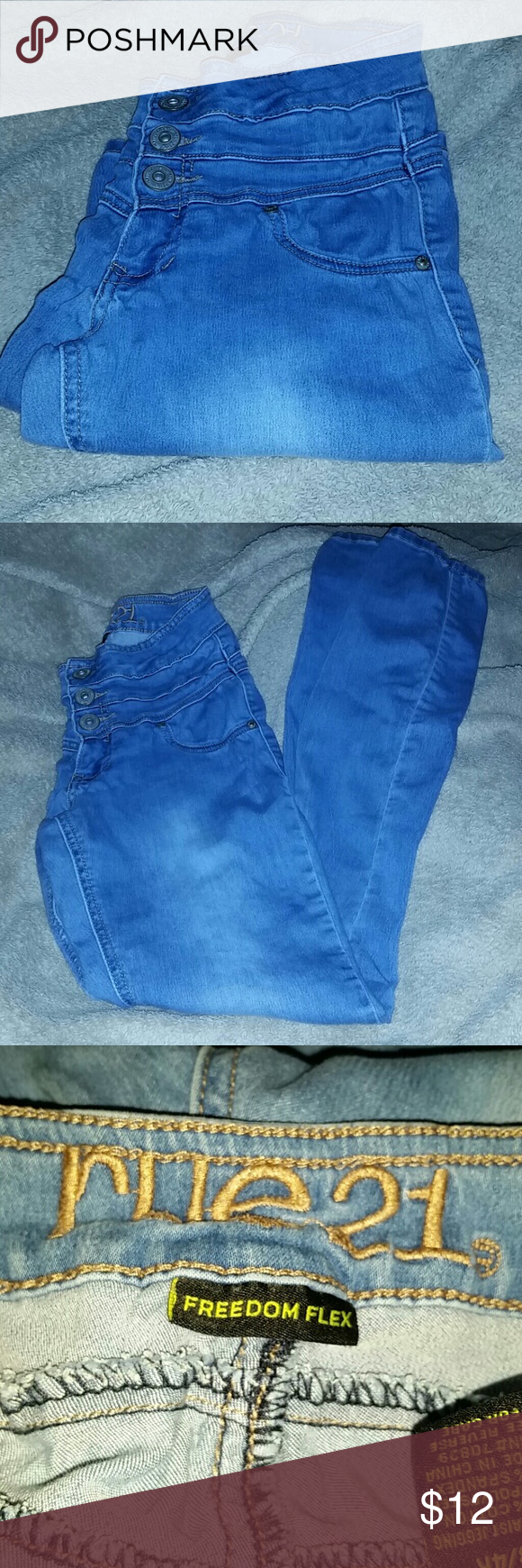 Rue 21 Jegging.. ?Size 3/4 R  ?High Waist Jegging  ?Freedom Flex ?Stretchy Material  ?80% Cotton 18% Polyester 2% Spandex Rue 21 Jeans Skinny
