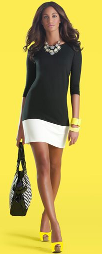 new york and company black and white ponte color block dress