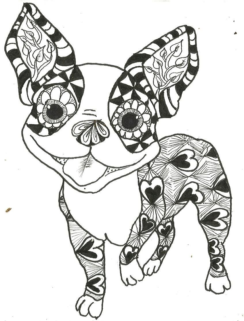 Zentangled Boston Terrier  Animal coloring pages, Dog coloring
