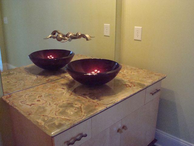 Powder Room Vanity. Love these raised sinks!!