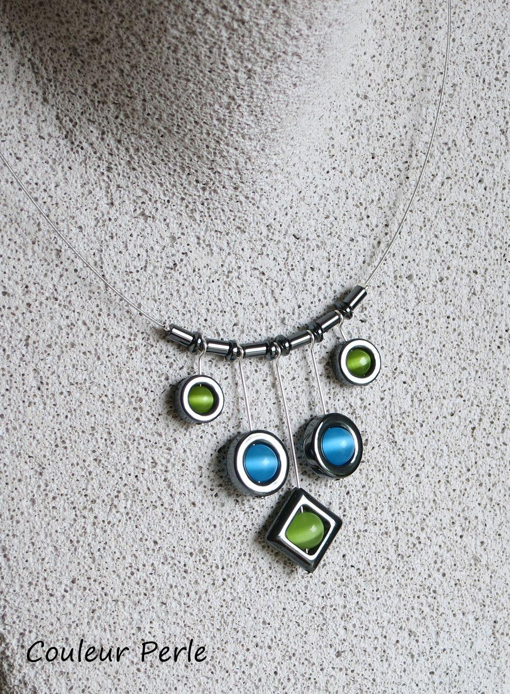 Collier eclat duhématite losange et rond vert anis et bleu