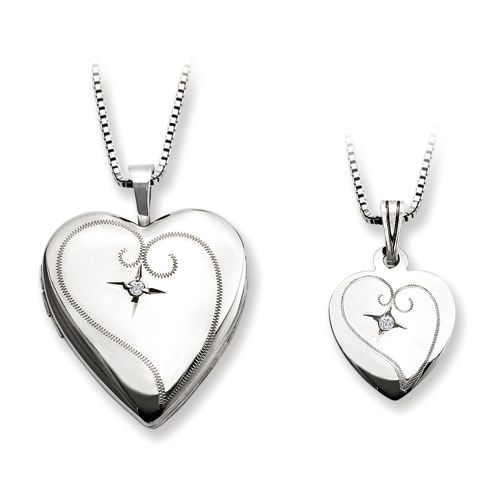 Sterling Silver Diamond Fancy Heart Locket Set