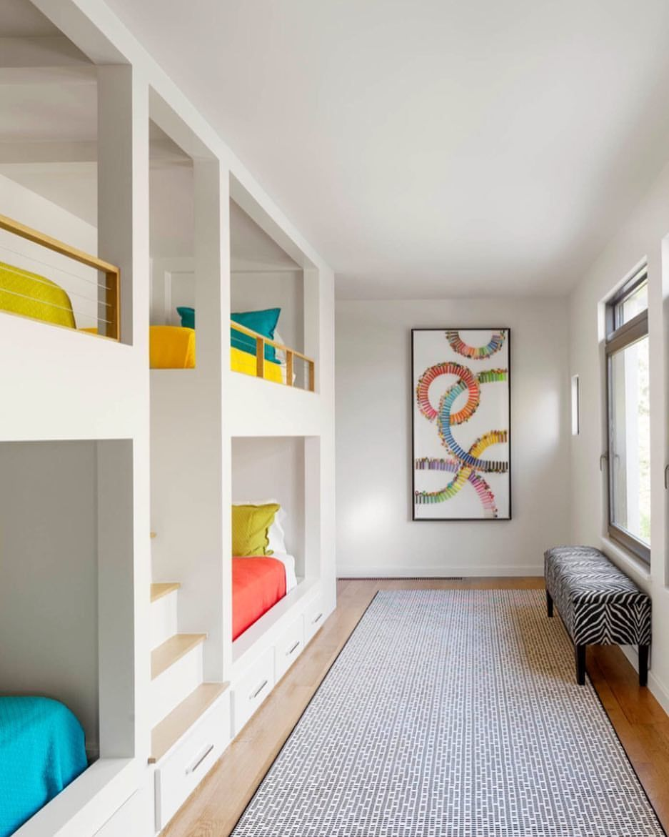 Best Grandmother Award Perfect Vibrant Space For Hosting The Little Ones Via Tatumbrowncustomhomes Interio Bunk Beds Built In Kids Bunk Beds Built In Bunks