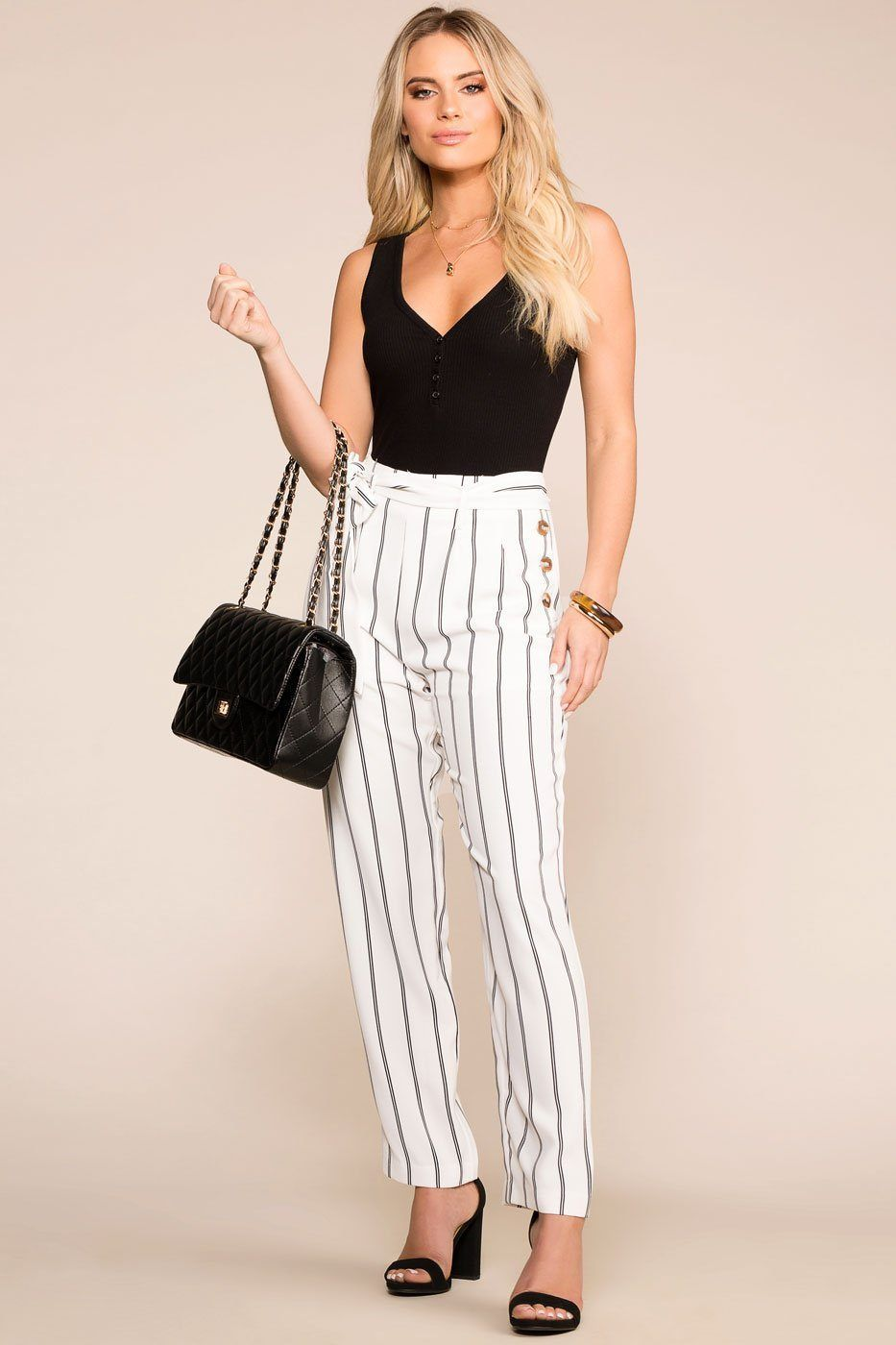 31521888ab3f4 Southern Seas White Striped Pants Back To School Outfits, Vacation Outfits,  Polyester Spandex,