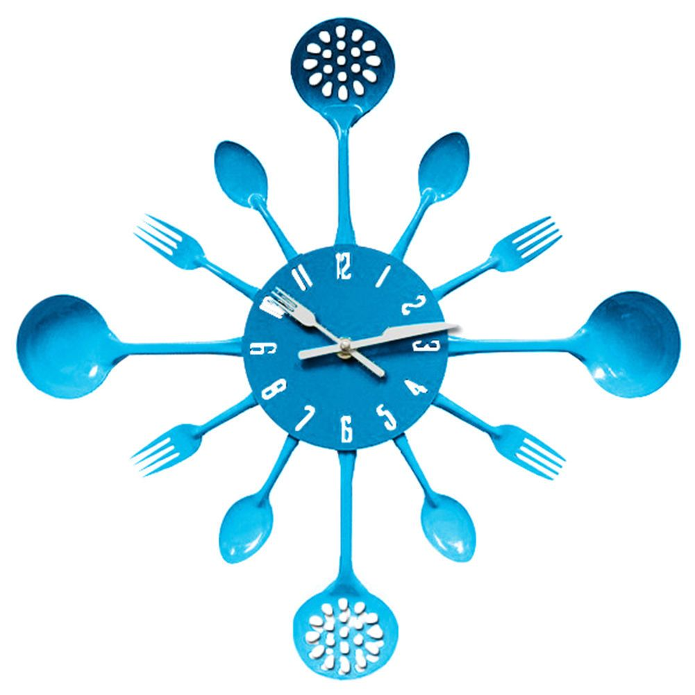 Bits And Pieces - Contemporary Kitchen Utensil Clock-Blue Toned ...