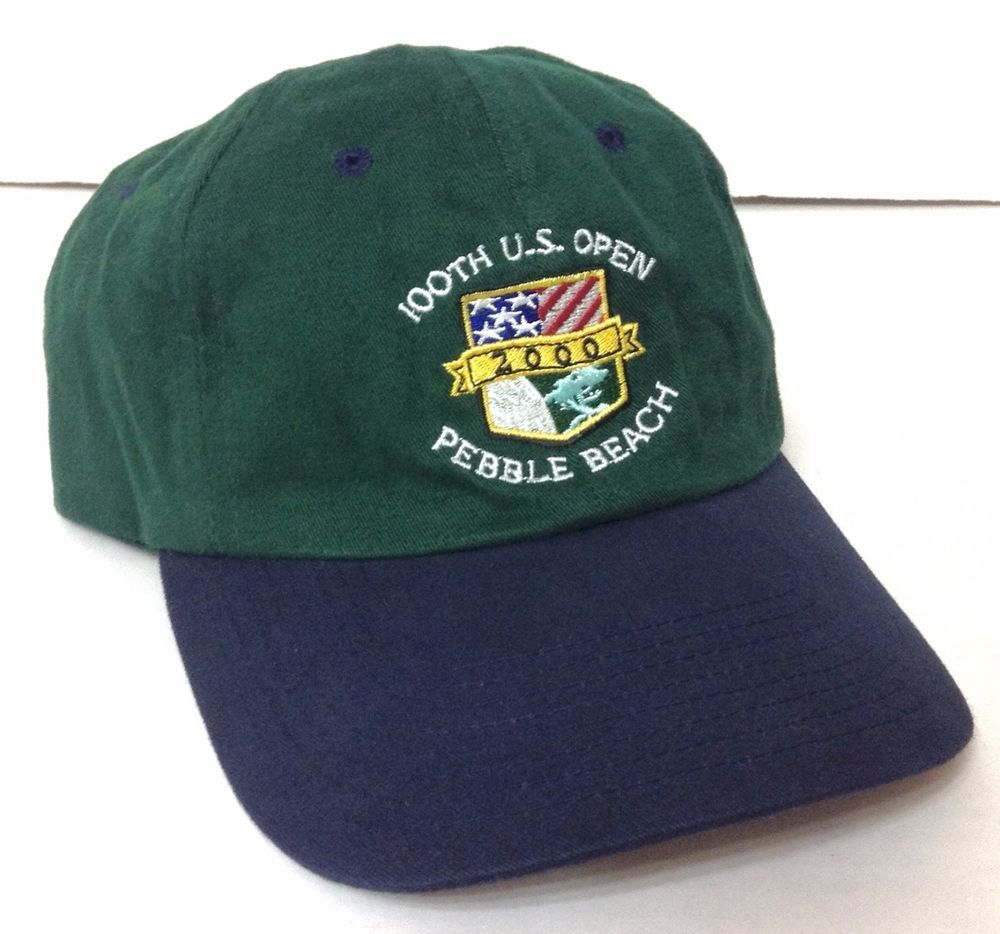 Vtg 100th Us Open Pebble Beach Hat Dark Green Navy Blue Year 2000