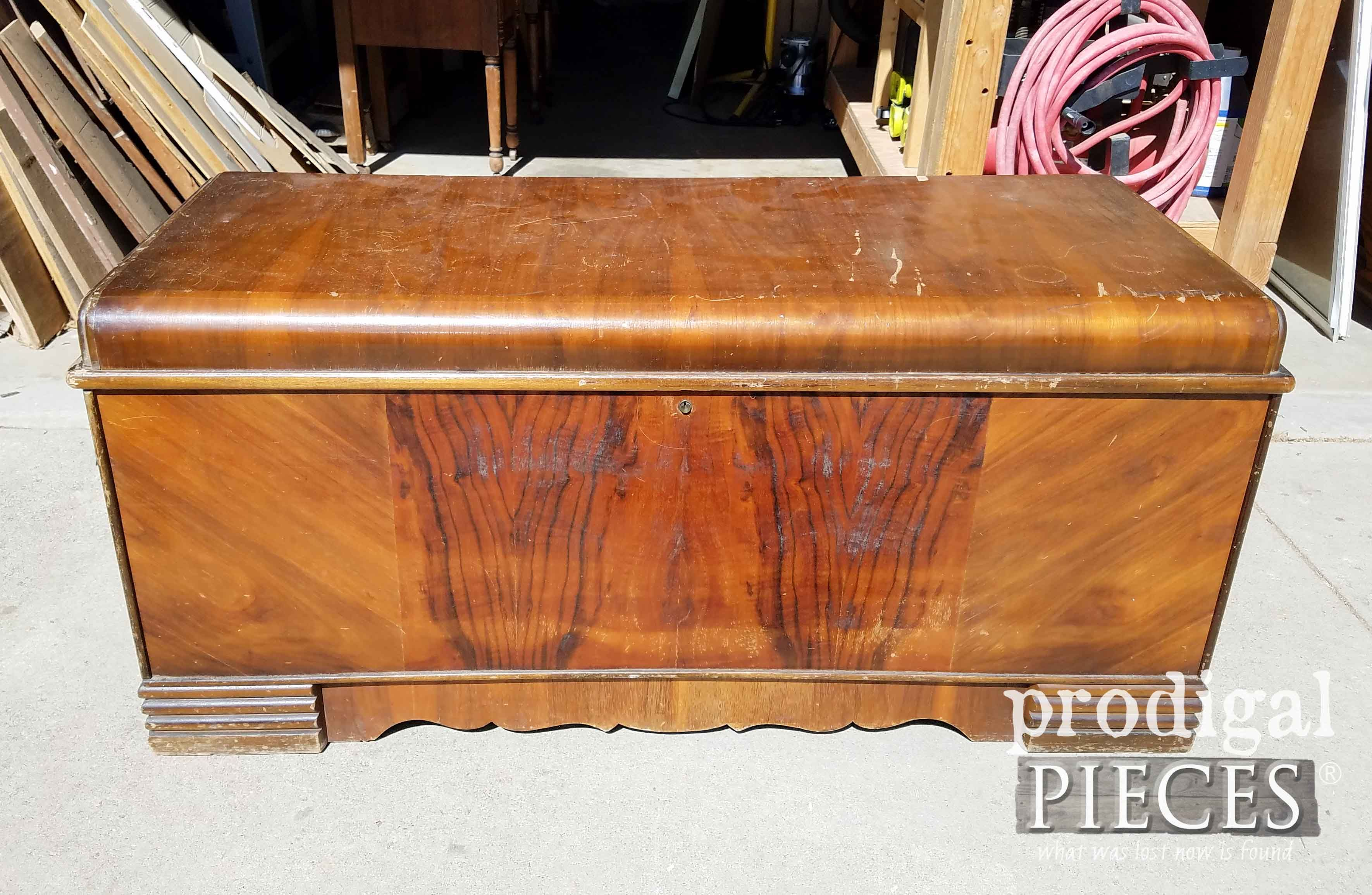 Vintage Waterfall Hope Chest Before Makeover By Prodigal Pieces Prodigalpieces Com Vintage Industrial Furniture Cedar Chest Redo Industrial Furniture