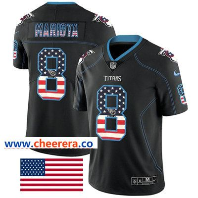Nike Tennessee Titans  8 Marcus Mariota Black Men s Stitched NFL Limited  Rush USA Flag Jersey 987cb59b7