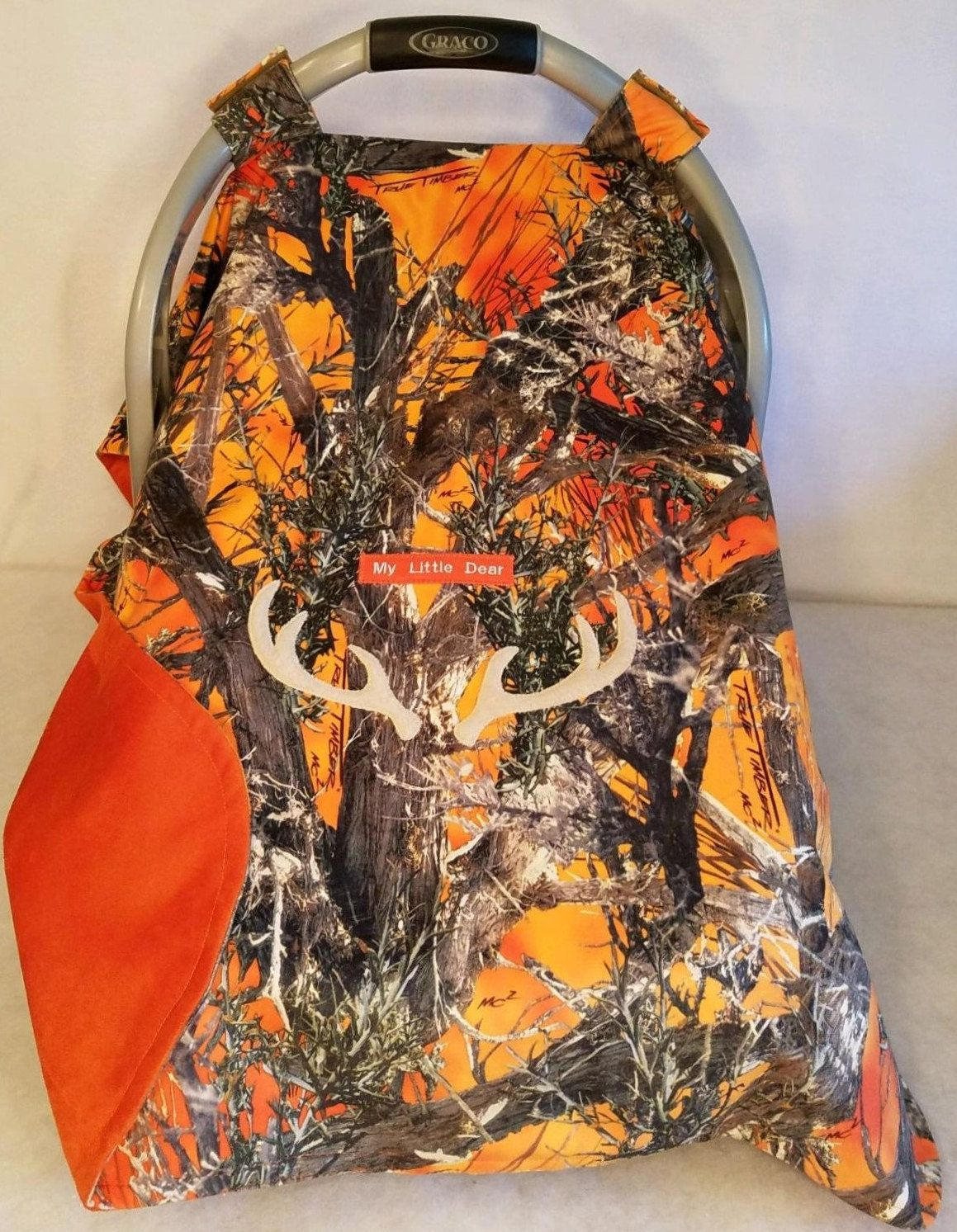 Car Seat Canopy Blaze Orange Camo Baby True Timber Faux Suede Cozy Custom Embroidery My Little Dear Or Camo Baby Stuff Outdoor Baby Gear Small Baby Blankets