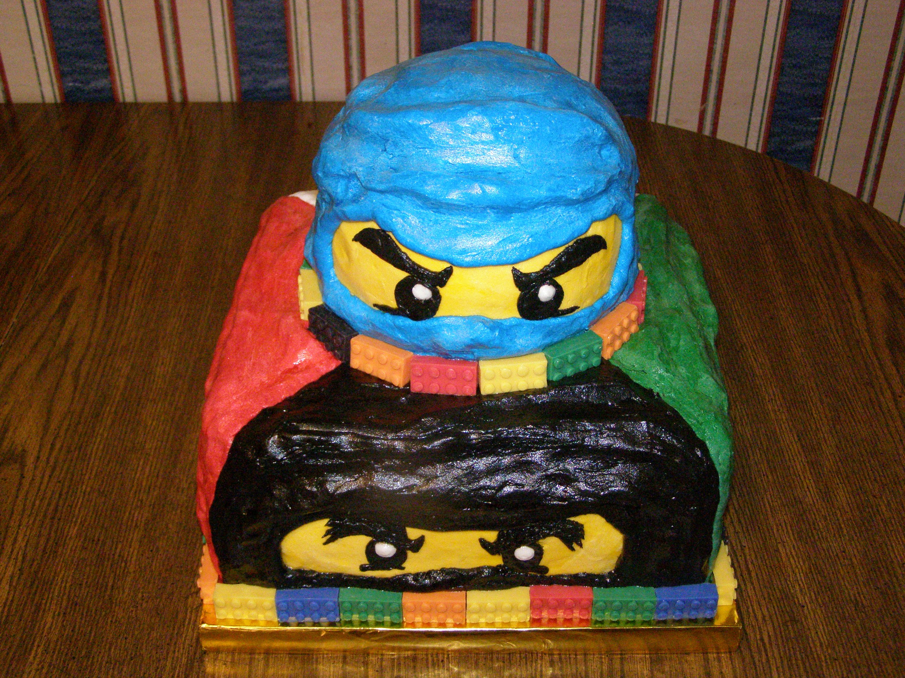 LEGO Ninjago Cake: All buttercream except for molded chocolate bricks for the borders.