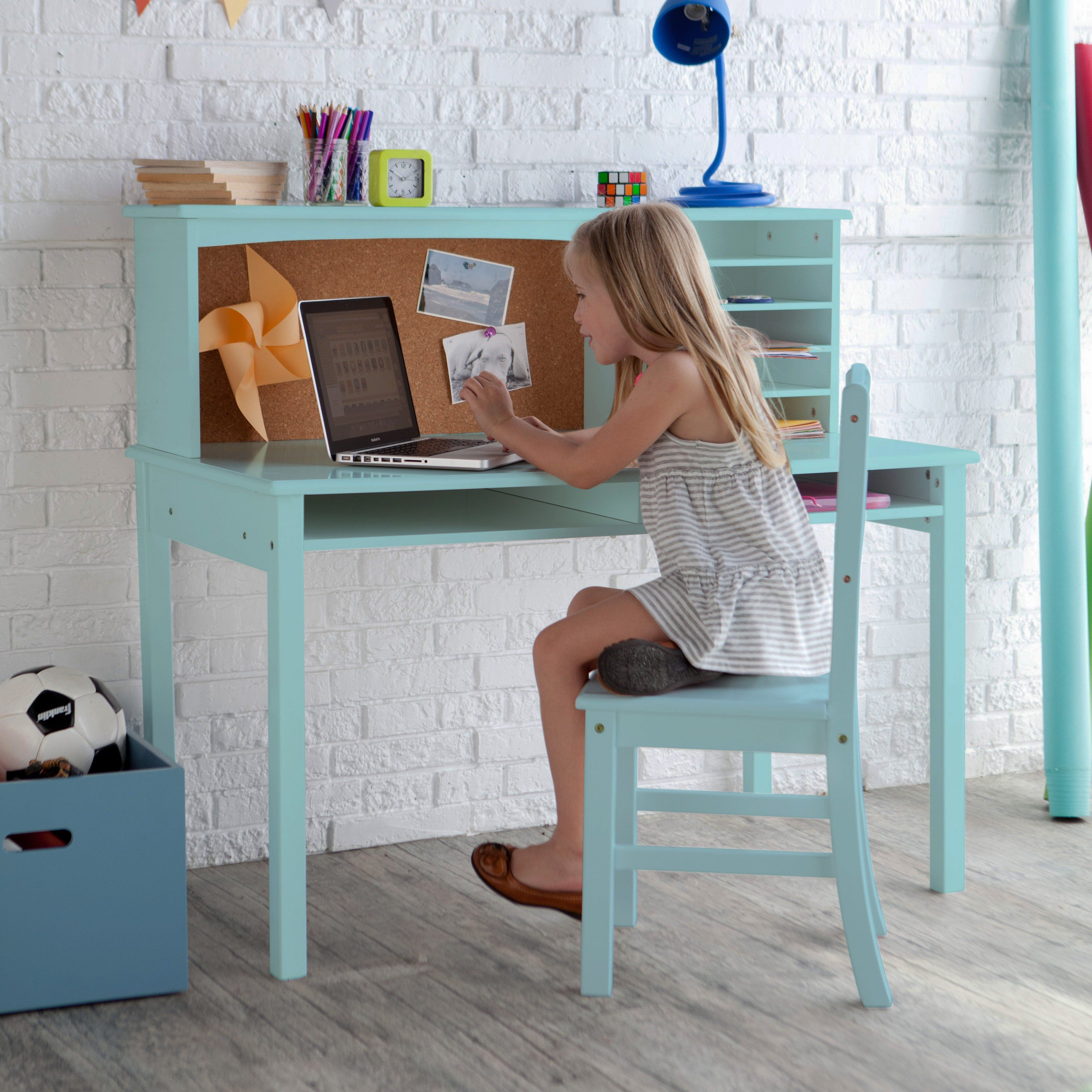 Guidecraft Media Desk & Chair Set Teal from hayneedle