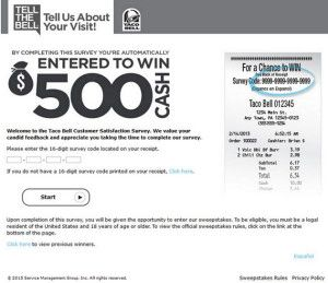WwwTellthebellCom  Taco Bell Customer Satisfaction Survey