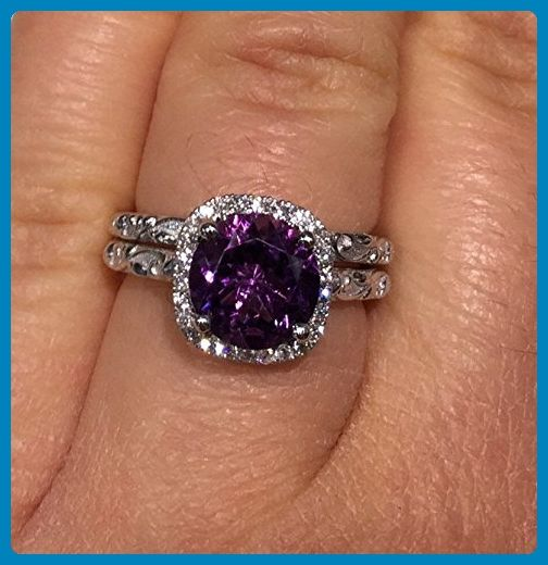 Amethyst Rings 14k White Gold Purple Amethyst Stone Rings Set
