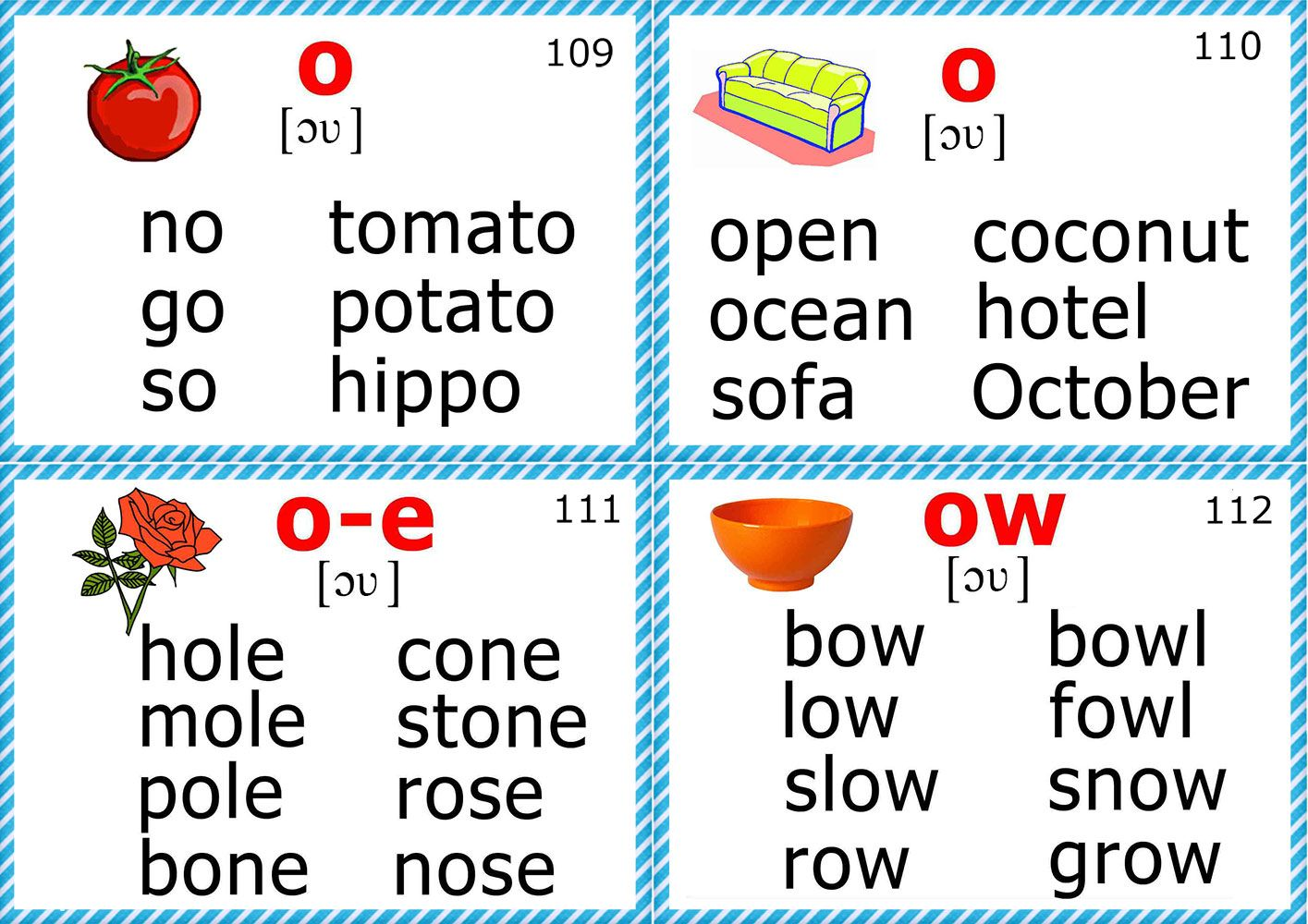English For Kids Step By Step Phonics Flashcards Long O Vowel