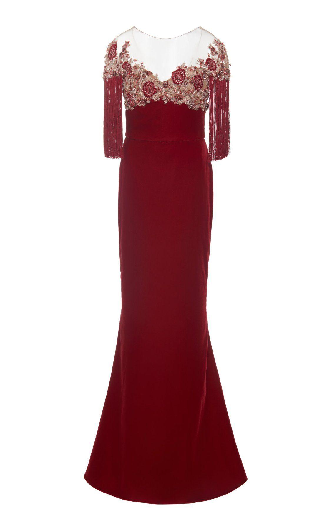 2acac7fd96 Embroidered Velvet Column Gown by Marchesa PF19   Moda Operandi   M ...