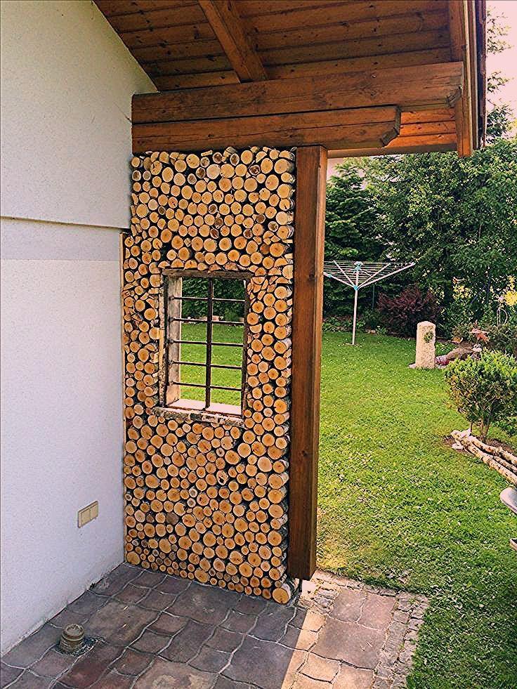 Photo of fertige Zierwand aus Birkenholz im Garten – Garten Pflanzen Ideen – Mein Blog