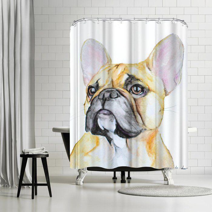 Allison Grey French Bulldog Single Shower Curtain Grey French