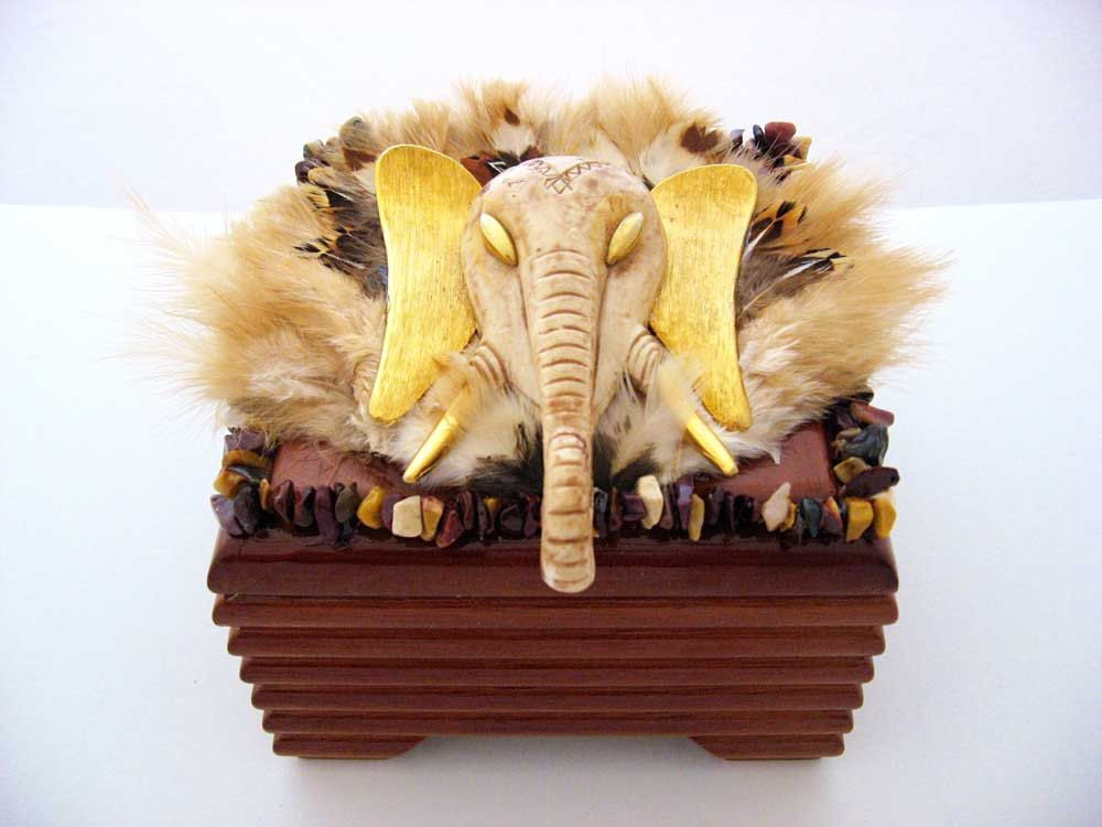 CJ Borden. Zula African Elephant Wooden Jewelry Box Vintage Jewelry Art by ArtCreationsByCJ on Etsy
