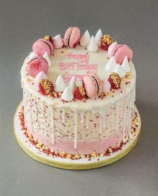 Raspberry White Chocolate Drip Cake Birthday Cakes Pinterest