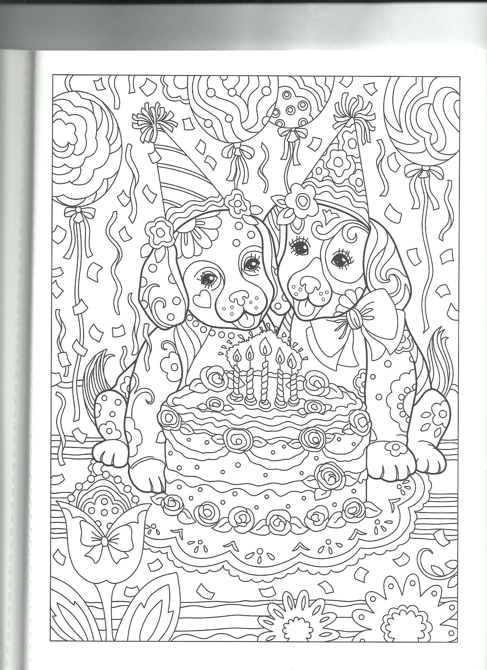Puppies Birthday Coloring Page By Marjorie Sarnat Dog Coloring Book Skull Coloring Pages Cute Coloring Pages