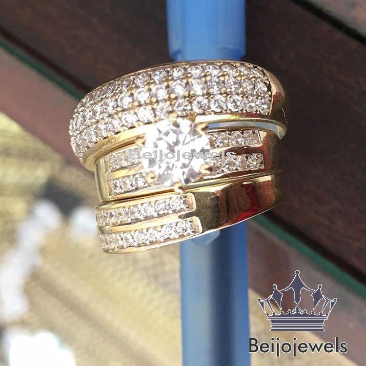 Diamond Trio Set 14k Yellow Gold Ladies Engagement Ring Mens Wedding Band 1 80ct Wedding Ring Trio Sets Solitaire Wedding Ring Set Lab Diamond Engagement Ring