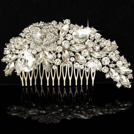 f105b4ade6a Crystal Wedding Rose Flower Hair Comb Pins Bridal Women's Rhinestone  Accessories #weddinghair