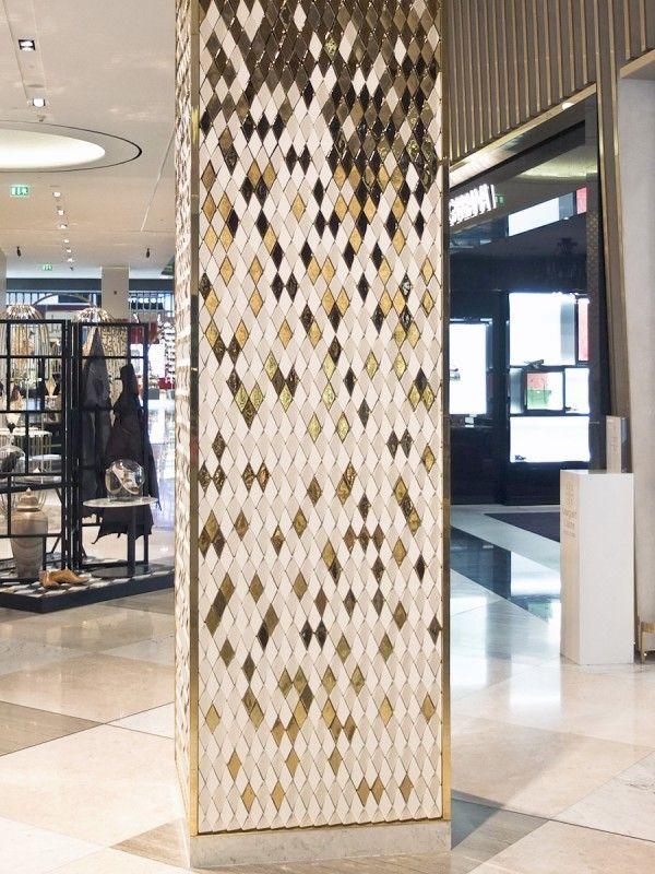 Dubai mall esagoni giles miller diamond columns - Pillars design in interiors ...