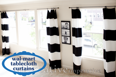 Black And White Horizontal Striped Curtains Made From Tablecloths Horizontal Striped Curtains Home Diy Home Projects