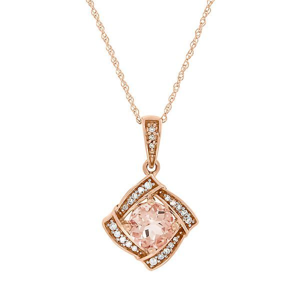 Morganite Diamond Pendant In 10k Rose Gold 2204208 Morganite Jewelry