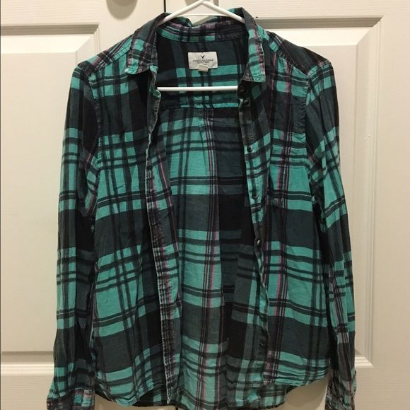 Plaid American Eagle Shirt Black pink & teal light weight American Eagle button up shirt American Eagle Outfitters Tops Button Down Shirts