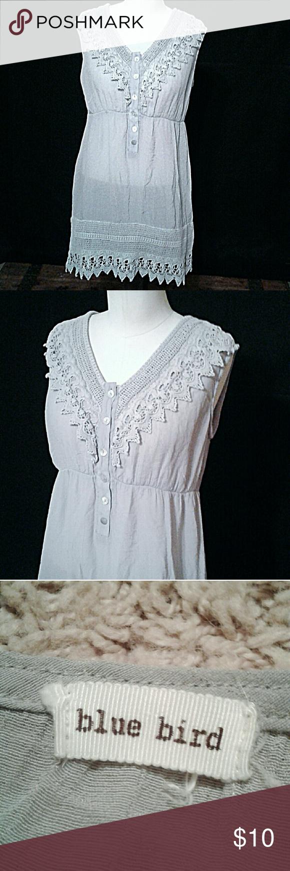 Blue bird sheer gray lace mini dress top tunic l blue bird size
