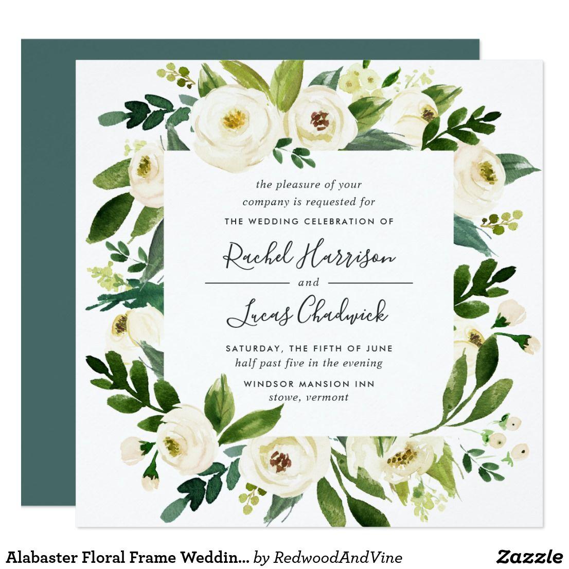 Alabaster Floral Frame Wedding Invitation | Square | { Wedding ...
