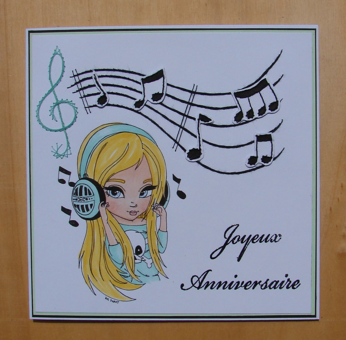 carte anniversaire jeune fille carte brodée notes de musique