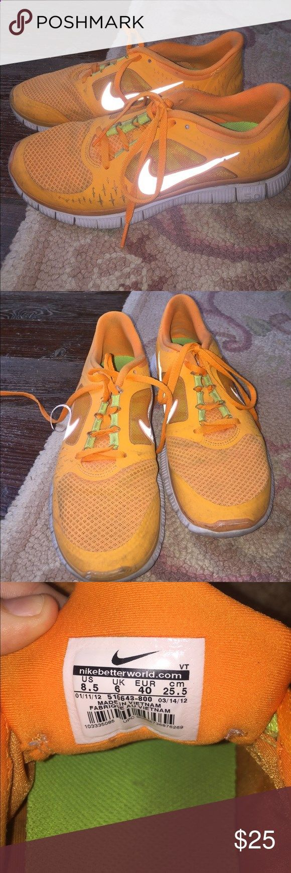 ✴️neon orange nike free runs✴ womens size 8.5 nike free runs! worn probably  15 times but still in great condition for any exercise! Nike Shoes Ath… |  ...