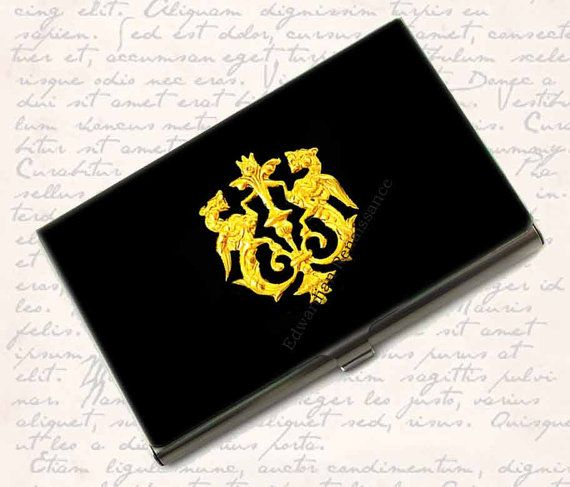 Business Card Case Brass Golden Dragon By Edwardianrenaissance 42 00