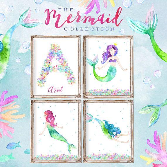 Mermaid Decor Print Room S Art Party Theme Decorations