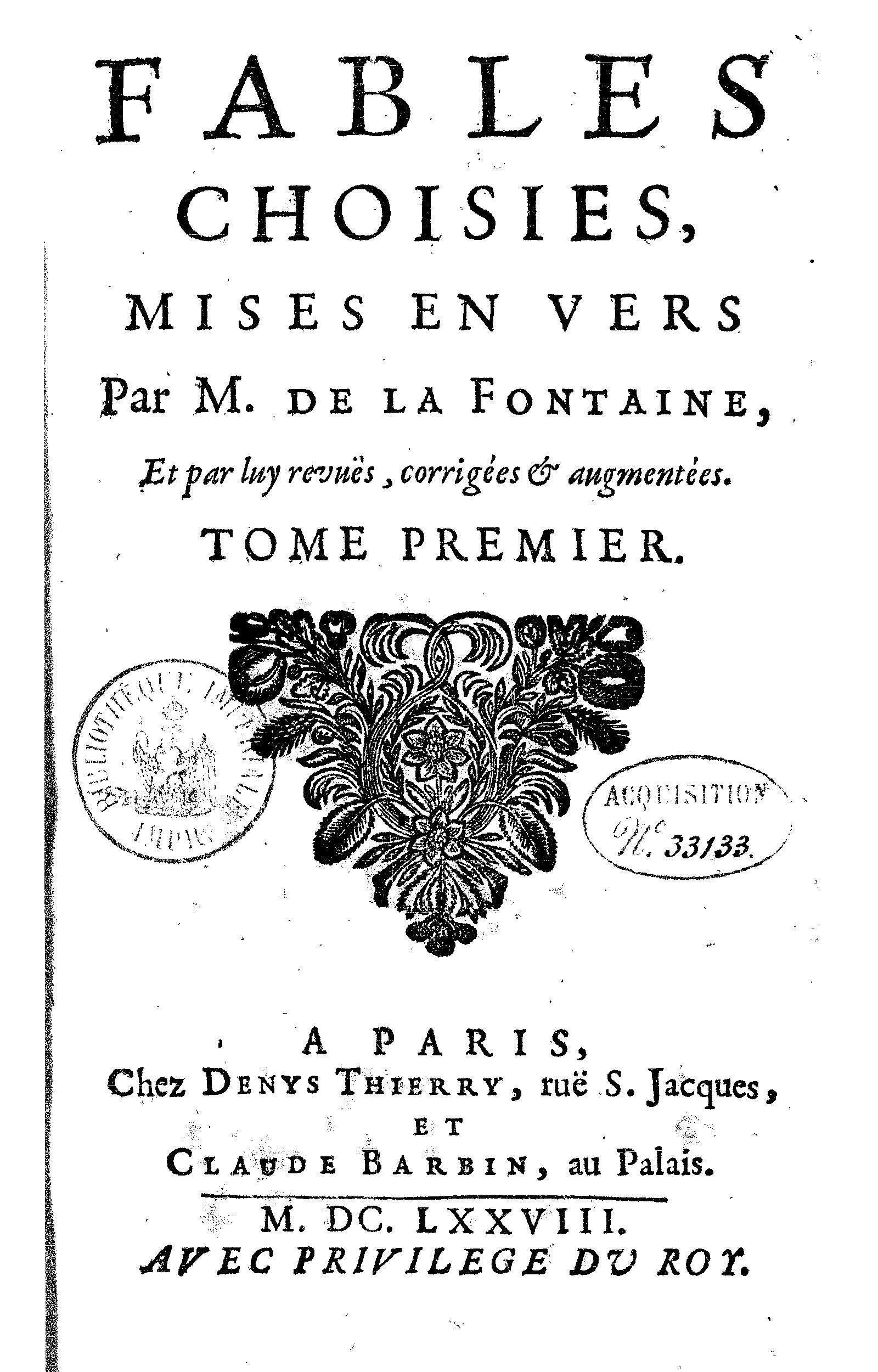 Title Page Vol 2 Of La Fontaine S Fables Choisies 1692 Ed Book Cover Illustration Fables Hotel