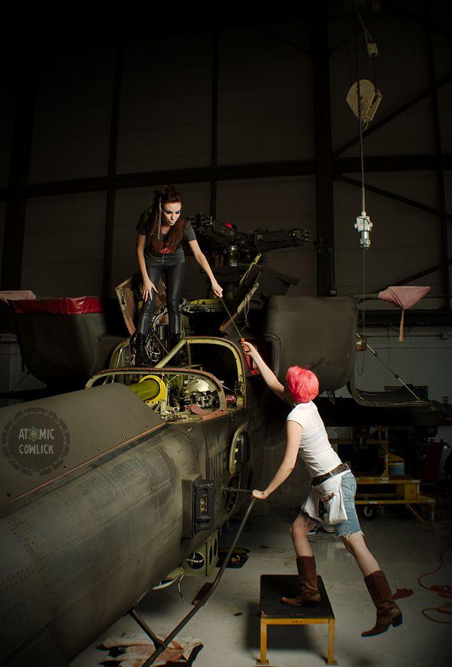 Behind the scenes- #AtomicCowlick photo shoot on an Apache Chopper :) SO fun