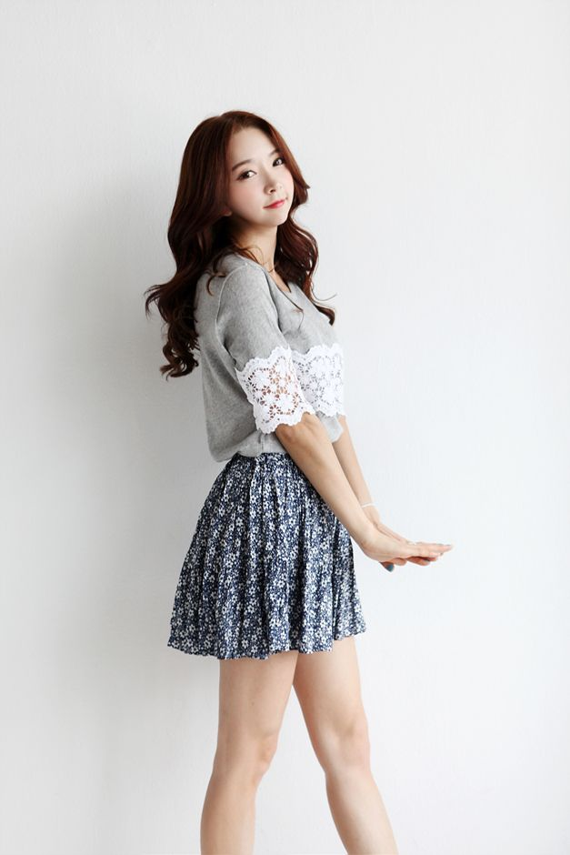 Very Cute Grey Shirt With Lace Detailing And The Patterned ...